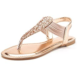 DREAM PAIRS SPPARKLY Women's Elastic Strappy String Thong Ankle Strap Summer Gladiator Sandals Champagne Gold Size 10