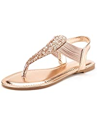 SPPARKLY Women's Elastic Strappy String Thong Ankle Strap Summer Gladiator Sandals
