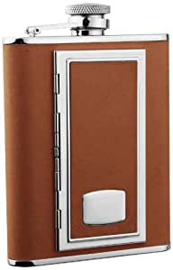 """Visol """"SP Brown"""" Leather 6-Ounce Brown Flask with Built-In Cigarette Case"""