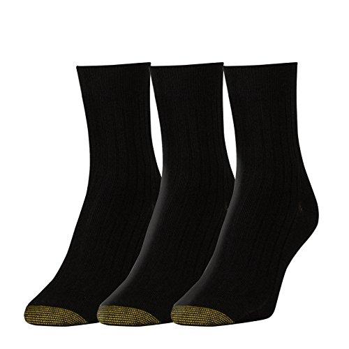 Gold Toe Women's Non-Binding Salon Short Crew Socks, 3 Pairs, Black, Shoe Size: 6-9