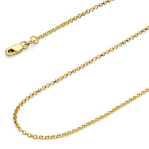 (Wellingsale 14k Yellow Gold SOLID 1.6mm Polished Classic Rolo Cable Chain Necklace with Lobster Claw Clasp - 22