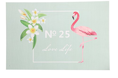 Weshine Portable Stain Resistant Flamingo Placemats for Dining Table, Sets of 4 (Flamingo)