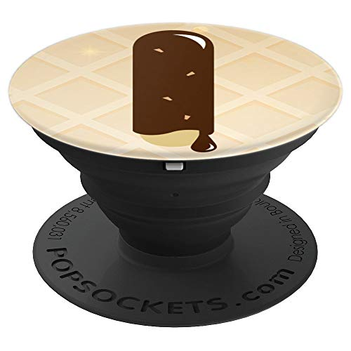 (Letter I Initial - Monogram - Chocolate Ice Cream Graphic - PopSockets Grip and Stand for Phones and Tablets )