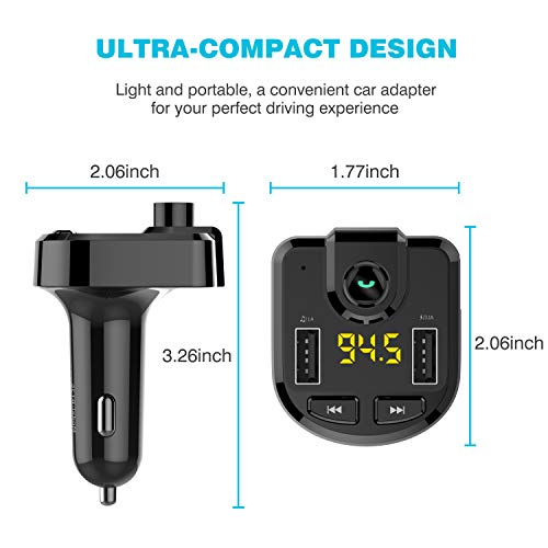 Bluetooth FM Transmitter for car, Wireless FM Transmitter Radio Receiver Adapter Car Kit,with Dual USB Car Charging Ports,Hands Free Calling,Music Player Support TF/SD Card, USB Disk