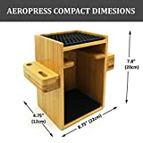 Hexnub Compact Organizer for Aeropress Coffee Maker Premium Bamboo Stand Caddy Station Holds Aeropress Coffee Maker Filters Cups Accessories with Silicone Dripper Mat