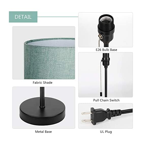 HAITRAL Bedside Table Lamp - Modern Nightstand Lamps with Fabric Shade, Pull Chain Switch Small Desk Lamps for Bedrooms, Kids Room, College Dorm - CadetBlue (HT-TH102-10) - 【MODERN & MINMALIST DESIGN】 The modern table lamp is designed for a stylish and elegant look that fits any decor scheme, such as urban, modern, minimalist, vintage and traditional. The stylish design showcases black metal base with cadet blue shade for an added upscale feel and elegant touch to any room. 【PERFECT SIZE FOR ANY DESK】 Lamp dimensions - 16.3 x 7.5 x 5.5 inches, the stick lamp has a mini basic that fits to any desk, table or dresser. It's small lamp but it can give off a nice amount of light, able to brighten up a room by itself. Dresses up any room with a soft radiance! It's perfect for bedrooms, kids room, college dorm, nursery, office, girls room or den. ❥ (Please be clear about the size when you browse) 【BULB REQUIREMENTS】 The HAITRAL nightstand lamp can be only equipped with an E26 standard size light bulbs, Max 60 watts (Without Bulbs). It's compatible with a variety of light bulbs, such as incandescent, halogen bulbs, LED or CFL light bulbs. Its cadet blue shade softens the light that provides a flicker-free lighting for reading, studying or working. Eye-caring and affordable! - lamps, bedroom-decor, bedroom - 41A7CgHt4OL. SS570  -