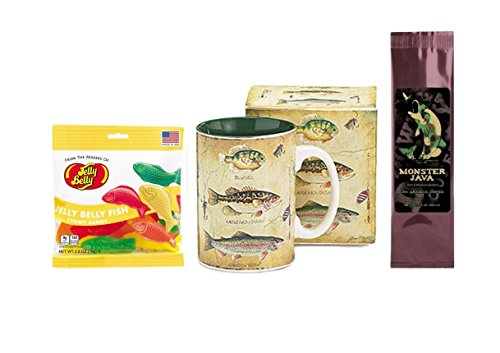 Bluegill Bass Trout Fish and Lures Mug, Coffee, and Jelly Fish Candy Gift Set (3 Items)