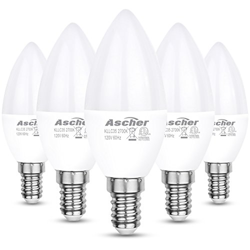 Ascher Classic E12 LED Candelabra Light Bulbs, Equivalent 60W, 550LM, Warm White 2700K, Chandelier Bulb, Non-dimmable, Candelabra Base, Pack of 5