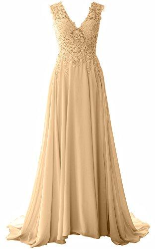MACloth Women Straps V Neck Lace Chiffon Prom Dress 2017 Formal Evening Gown (18w, Champagne) (Plus Size 90s Fancy Dress)