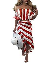Women's Off Shoulder Strapless Ruffle Lace Up Stripes 2 pcs Boho Maxi Long Dresses