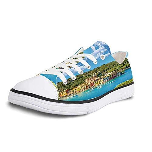 (Canvas Sneaker Low Top Shoes,Italy Portofino Landmark Aerial Panoramic View Village and Yacht Little Bay Harbor Decorative Women 11/Man)