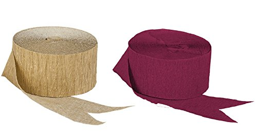 Dark Metallic Gold and Maroon Burgundy Crepe Paper Streamers (2 Rolls Each Color) MADE IN USA! -
