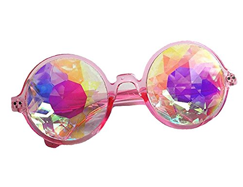 DODOING Festivals Kaleidoscope Glasses For raves - Goggles Rainbow Prism diffraction Crystal Lenses (One Size-Adjustable Head Band, Black+Pink) by DODOING (Image #5)