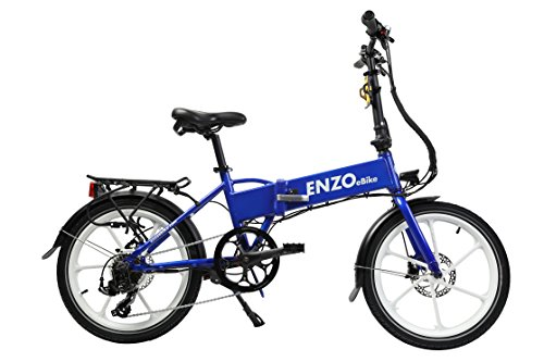 Enzo Ebike 2017 Folding Electric Bicycle - 7 Speed Full Electric Throttle or Variable Assist -UPGRADED FAST CHARGER- (Blue)