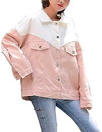 Women Black Yellow Purple Pink Loose Fit Denim Jean Trucker Jacket