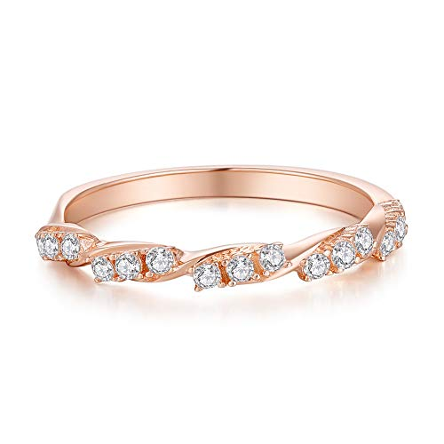 A ANGG 925 Sterling Silver Rose Gold Twisted Ring Engagement Wedding Jewelry