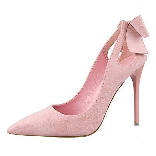 Aalardom Donna Mix Di Materiali Spikes-tacchi A Spillo Scarpe A Punta Tirate-scarpe Con Papillon Rosa-bowknot