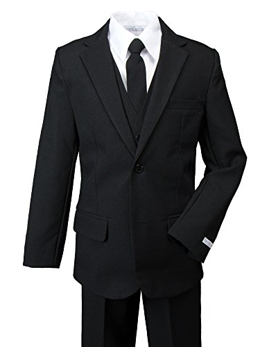 Spring Notion Boys' Modern Fit Black Dress Suit Set 10 -