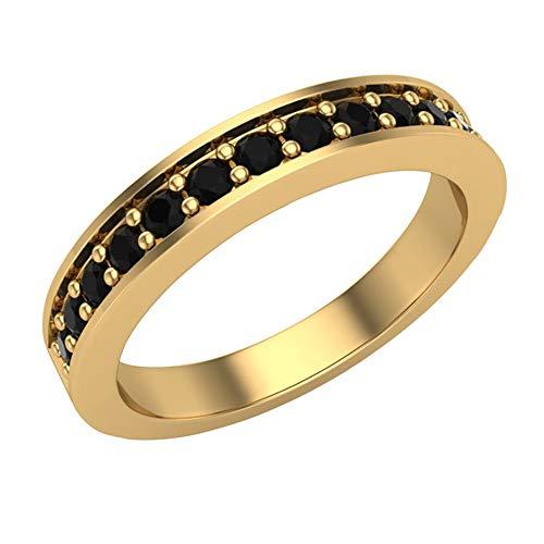 Halfway Semi-Eternity Black Diamond Wedding Ring/Band Comfort Fit 14K Yellow Gold (Ring Size 5.5)