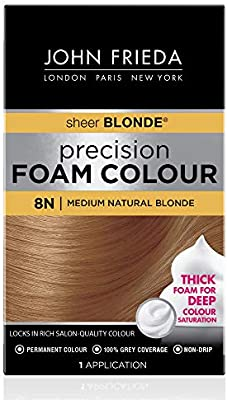 Amazon Com John Frieda Precision Foam Color Medium Natural Blonde 8n Full Coverage Hair Color Kit With Thick Foam For Deep Color Saturation Beauty