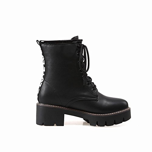 Carolbar Womens Lace Up Fashion Comfort Mid Heel Martin Boots Nero