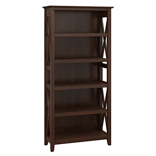 - Bush Furniture Key West 5 Shelf Bookcase in Bing Cherry
