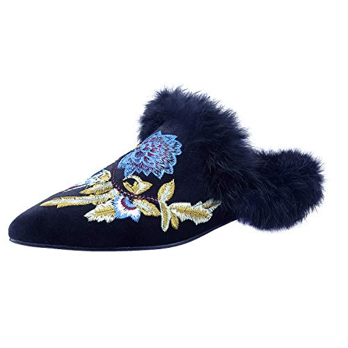MAVIRS Mules for Women, Women Embroidery Velvet Mule Slippers, Woman Slip on Backless Slides Loafers Black Velvet Fur Blue Flowers Size 11
