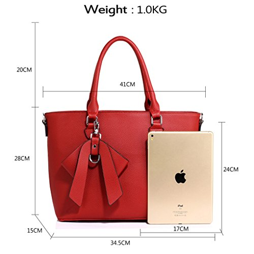 Handbags Faux BOW Handbag Bow CHARM FAUX Grab RED Bag LEATHER Leather Tote Charm BAG Women's LeahWard apRqHwYn
