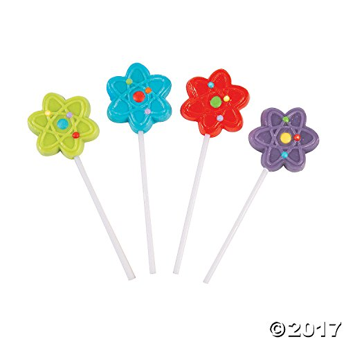 Science Party Atom Shaped Frosted Lollipops - 12 ct