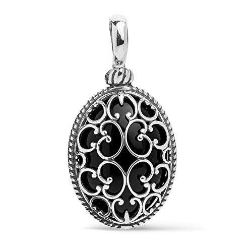 arolyn Pollack Sterling Silver Black Agate Gemstone Overlay Scroll Filigree Pendant Enhancer