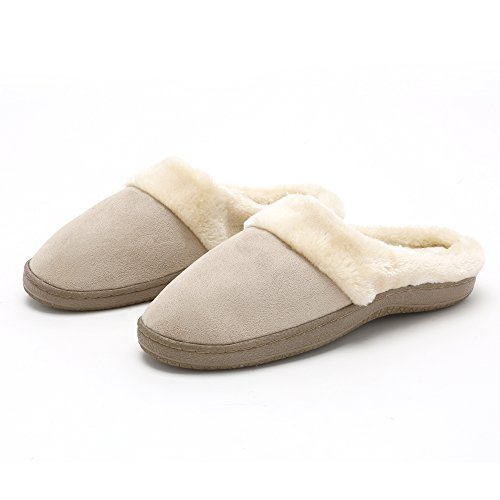 Pembrook Ladies Faux Fur Slippers – Comfortable Memory Foam Indoor and Outdoor - Slip on House Shoes for adults, women, girls