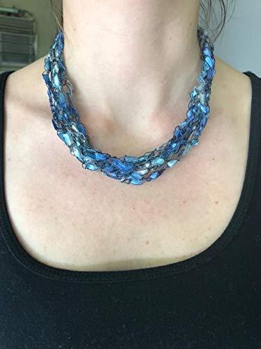 Adjustable Crochet Yarn Necklace Scarf Ladder Trellis Ribbon Blue Silver