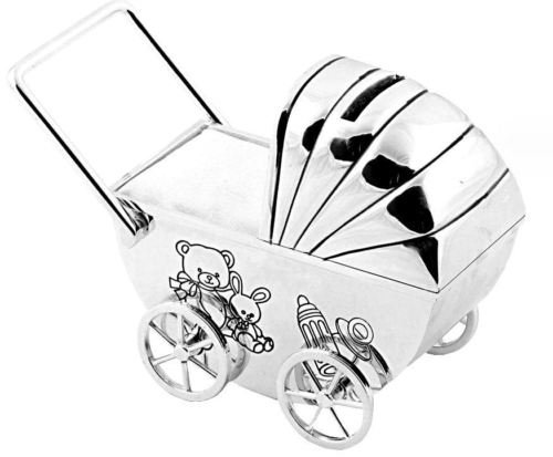 Personalised Pram Money Box Baby Christening Gift ENGRAVED FREE