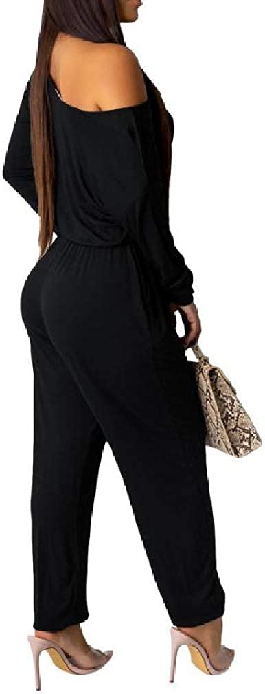 VITryst-Women Off Shoulder Casual Pure Color Long-Sleeve Autumn Jumpsuit Romper