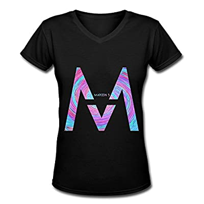 YZ Maroon 5 Tour 2016 Logo Fan Logo V Neck T Shirt For Women Black