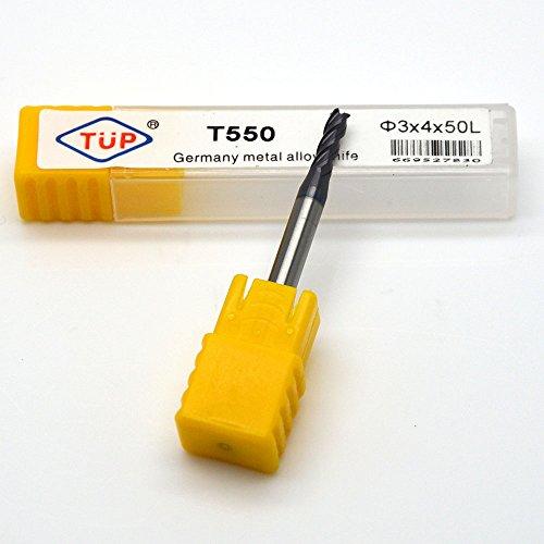 OUGAR8 HRC55 3mm 4 Flutes D3D450L CNC Square Tungsten Carbide Cutting End mill Flat Endmills Spiral Bit Milling TiAlN Coated Bits Micrograin solid Cutter