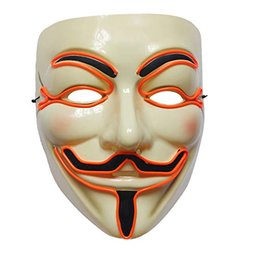 Cicitop V Vendetta Mask Adult Halloween Costume Masks LED Mask Light up Masquerade Party Prop (Orange)