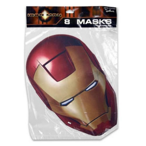 Iron Man Paper Mask 8 Pieces cardboard Party Masks - Iron Man Costume Cardboard