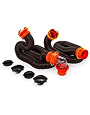Camco RhinoFLEX 20ft RV Sewer Hose Kit, Includes Swivel Fittings and Translucent Elbow with 4-In-1 Dump Station Fitting, Storage Caps Included
