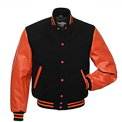 C131 Black Wool Orange Leather Letterman Jacket Varsity Jacket