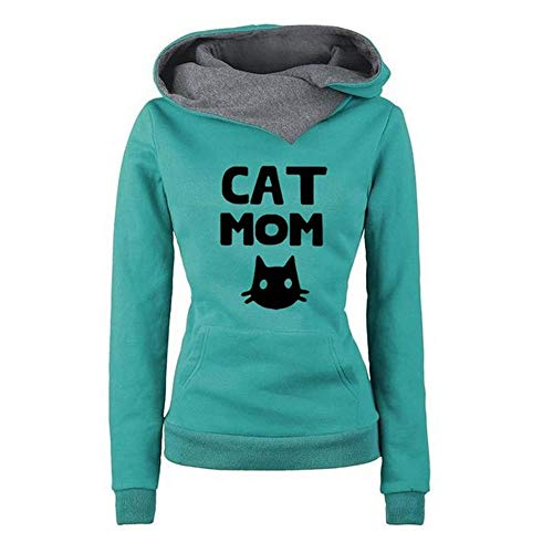 Women Hoodies, Womens Long Sleeve Cat Print Fashion Hooded Sweatshirts Tunic Shirts Casual Pullover Tops