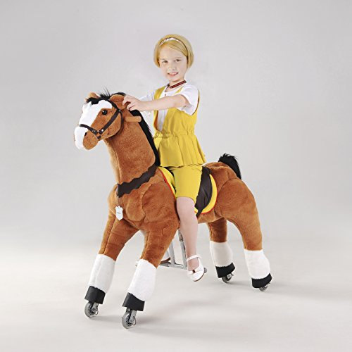 UFREE Action Pony, Large Mechanical Horse Toy, Ride on Bounce up and down and Move, Height 44'' for Children 4 to 15 Years black mane and tail
