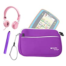 "DURAGADGET Leapfrog Tablet Kit - Purple 8"" Neoprene Carry Case with Front Storage Compartment + Pink Kids Headphones + Purple Stylus Pen for New Leapfrog Platinum Tablet / Leapfrog LeapPad GLO"