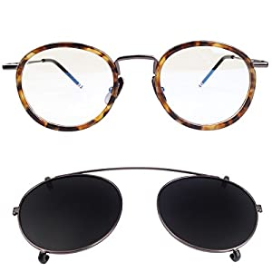 New York Fashion Round Optical Eyeglasses Frames with Polarized Lens Clip (Tortoise Black)
