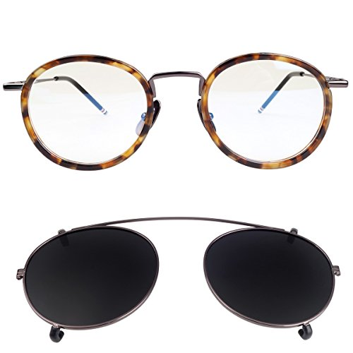 New York Fashion Round Optical Eyeglasses Frames with Polarized Lens Clip (Tortoise - Eyeglasses Sunglasses On Clip For Round