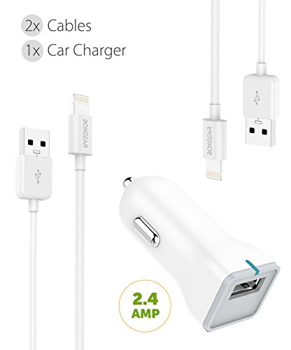 (Apple iPhone X Charger Apple Lightning Cable Kit by Boxgear - {1 Car Charger 2 Cable}, Apple Certified USB Cables (White))