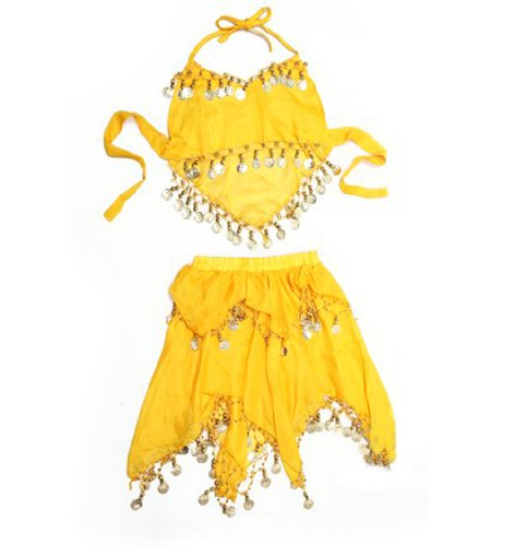 [BellyLady Kid's Belly Dance Halter Top & Skirt, Halloween Costumes Set, Yellow] (Ideas For Halloween Costumes For Teenage Girl)