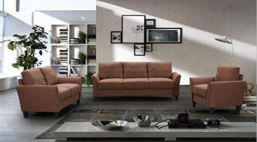 Harper&Bright Designs Sofa Set 3-piece Sofa and Loveseat Chair with Single Chair(3-Seat Sofa & Loveseat & Chair) (Brown)