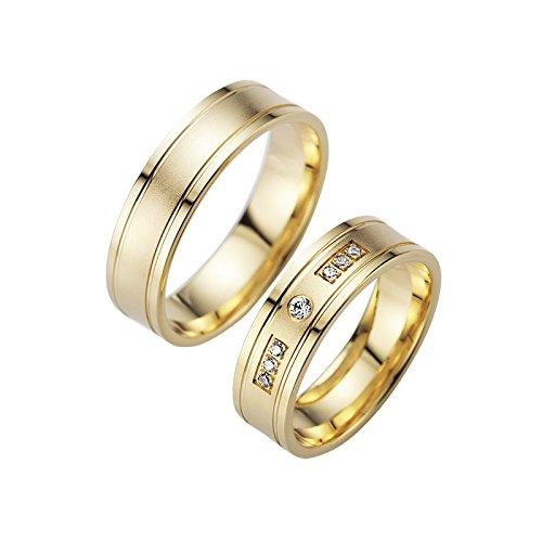 Trau anillos en oro amarillo 1 par de mattierten brillante rayas con ...