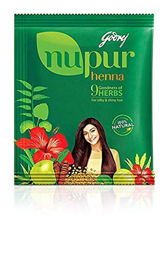 Godrej Nupur Henna Natural Mehndi for Hair Color with Goodness of 9 Herbs 3 Pack with 400 g in Each Packet (3 x 400 g / 3 x 14.10 oz) by Godrej